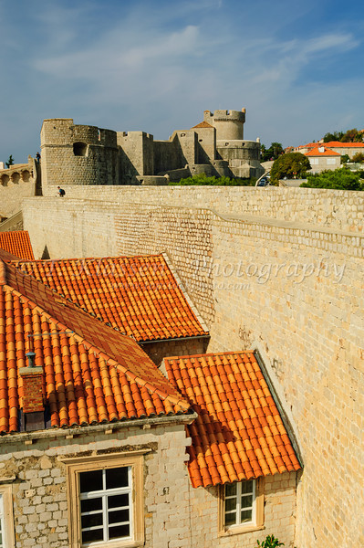 Views of the walls and ramparts of the old city of Dubrovnik, Croatia.