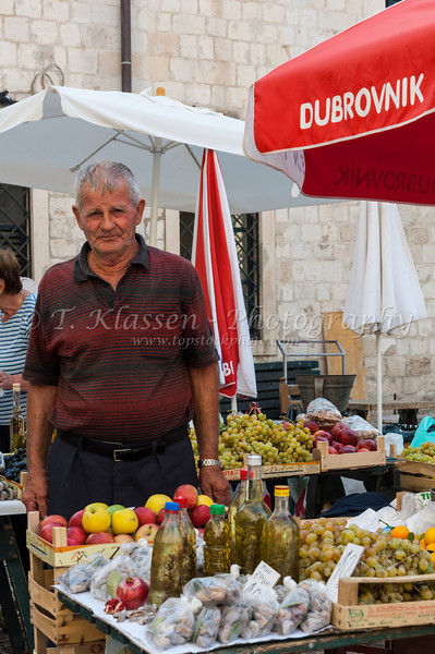 An outdoor street market in old town Dubrovnik, Croatia.