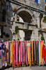 Colorful textiles for sale at the city market in Split, Dalmatia, Croatia.