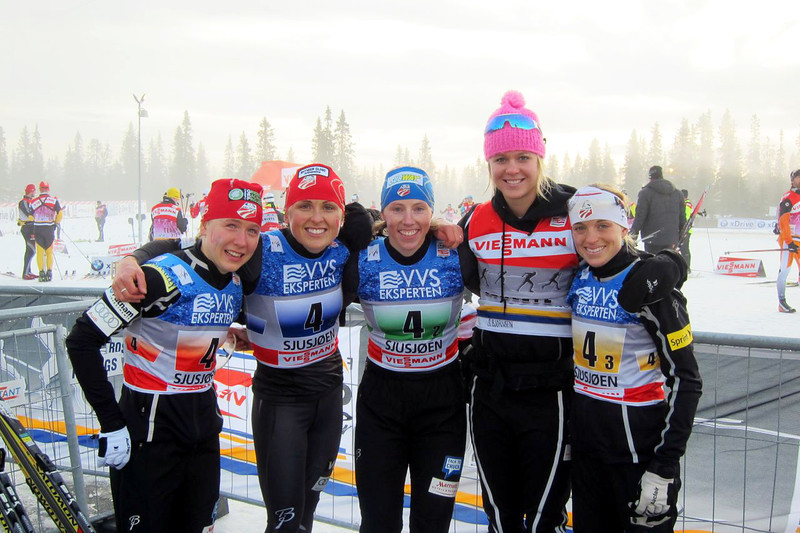 (L-R) Ida Sargent, Holly Brooks, Kikkan Randall, Sadie Bjornsen, Liz Stephen 2011 Cross Country World Cup in Sjusjoen, Norway Submitted by Kikkan Randall