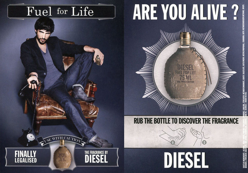 DIESEL Fuel for Life 2010 recto-verso card 10,5 x 15 cm with rub-on sample 'Use with caution - Finally legalised - The fragrance by Diesel - Are you alive ? - Rub the bottle to discover the fragrance''