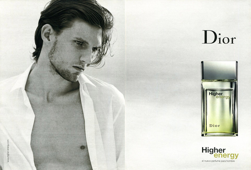 CHRISTIAN DIOR Higher Energy 2003 Spain spread (handbag size format) 'El nuevo perfume para hombre'  MODEL: Ronald John Rogenski (US), PHOTO: Bruce Weber