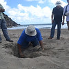 Jessica Berkel shows the group how STENAPA confirms sea turtle nests on Zeelandia. Photo Credit: Nathaniel Miller, DCNA