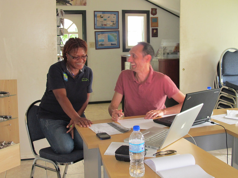 Jessica Berkel and Peter Verweij working on development of the DCBD.  Photo Credit: Nathaniel Miller, Dutch Caribbean Nature Alliance