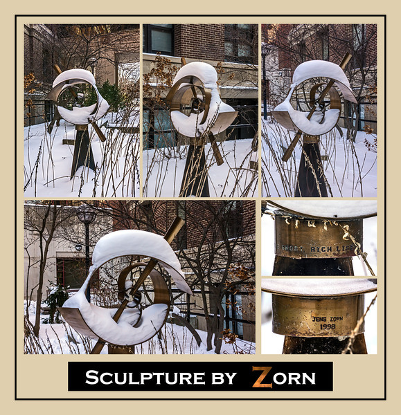 "Donna's Alphabet Challenge: Z (January 5, 2014) Z is for Zorn, the sculptor of this work (more info below)  DP005-2014  Posted January 5; created ditto from images shot on Jan. 4.  The sculpture, 'The Short, Rich Life of Positronium' is by Jens Zorn.  Located on the University of Michigan Central Campus, between two of the Physics Department's buildings, it was created by one physics professor (Zorn) to commemorate the pioneering work in particle physics carried out by another (Prof. Arthur Rich).  Read more about the work here:  http://www.public-art.umich.edu/the_collection/campus/central/94   This wasn't my preferred subject.  I wanted to photograph 'animals' in the Kalamazoo Air Zoo (an air museum) such as the Wildcat, Bearcat, Tigercat, etc., but life and weather got in the way.  At least I was able to find a Michigan-themed ""Z"", to stay consistent with my other entries in the challenge.  Thanks, Donna, for getting me started on what turned into quite a journey around a small part of the great state of Michigan.  That journey won't end when this challenge ends.  I have a feeling it's just begun..."