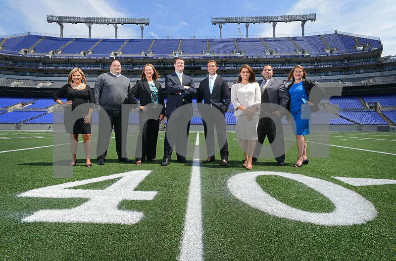 07-16-14 BALTIMORE, MD- from Left- Ashley Valis, Jonathon Rondeau, Janine DiPaula Stevens, DeWitt Bauer, Brendan Gill, Michelle Mendez, Billy Apostolou, Laurie Wasserman. (The Daily Record/Maximilian Franz)