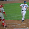 Dodgers' Jeff Kent brings in the third run against the Phillies' defense in the first inning of the game played at Dodger Stadium in Los Angeles, CA, on Monday, July 16, 2007 where the Dodgers lead 3-1.<br /> (John Lazar/L.A. Daily News Staff Photographer)