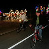 Bicyclist ride through the L.A. DWP Light Festival's main road that runs through Griffith Park on Monday November 19, 2007 where its now completely green by having used L.E.D.. lights for all of the displays.<br /> <br /> John Lazar/L.A. Daily News Staff Photographer