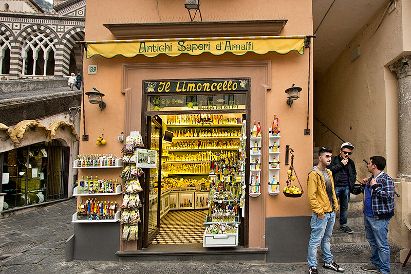 Shop in Amalfi, Italy specializes in Limoncello, a potent liqueur made from lemons that grow huge in the abundant sunshine of the Sorrentine peninsula.