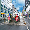 Checkpoint Charlie, the most famous crossing point in the Berlin Wall between East and West Berlin during the Cold War