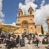 Cathedral Square during the weekly Sunday market in the picturesque fishing village of Marsaxlokk on Malta.