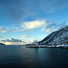 Pulling out of port in Oksfjord, a remote village on the far northern tip of Norway