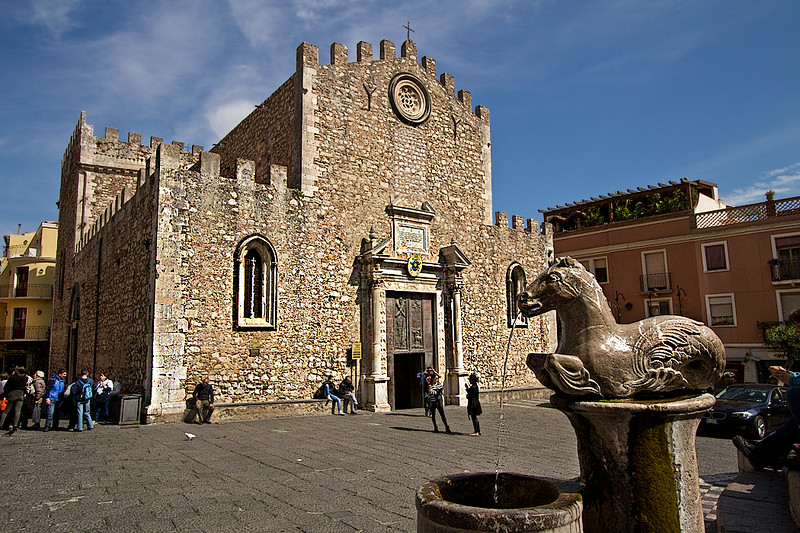 Basilica Cathedral and fountain in Piazza del Duomo in Taormina, Sicily, Italy
