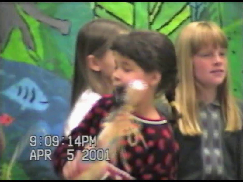 Video Archive Clip 2001 (April 5) - Yaden, Alexandria R. - Age 11 - Alex participates in the school music concert - Big Thompson Elementary School - Loveland, CO - Original VHS Series (19 min 47 sec)
