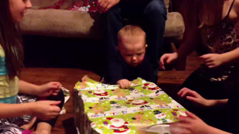 Video Archive Clip 2012 (Dec 25) - Yaden, Dan & Trish - Cole (age 8 mos) opens Christmas presents with sisters Alyssa, Taylor, and Kylie - Rensselaer, IN (3 min 48 sec)
