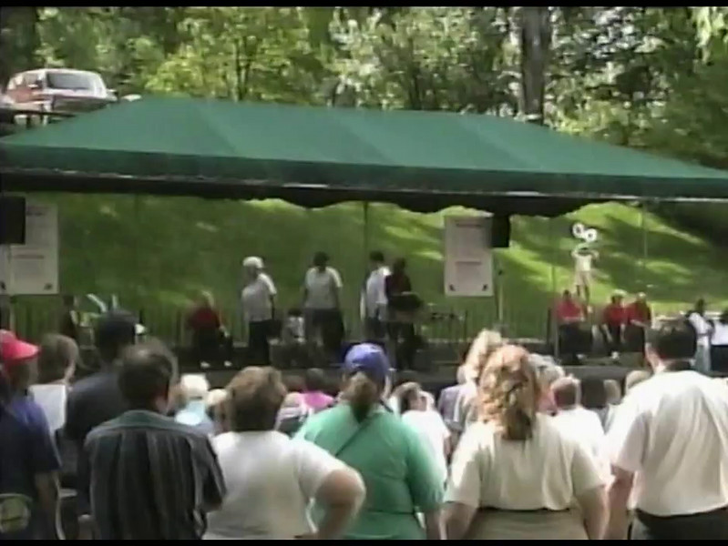 """Video Archive Clip 1998 (June 13) - Yaden, Jacob (age 13) & Steven (age 10)  - Jacob (front row, left in poodle skirt) and Steven (front row, right) dance the """"All Shook Up"""" routine - Free Spirit Cloggers Performance at Roscoe Village - Coshocton, OH - Clogging Memoirs Series (3 min 1 sec)"""