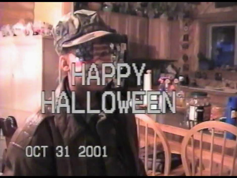 Video Archive Clip 2001 (Oct) - Yaden, Dan & Julie - Age 47 - Halloween in Estes Park - Estes Park, CO - Steven (age 13), Alex (age 11) - Original VHS Series (5 min 45 sec)