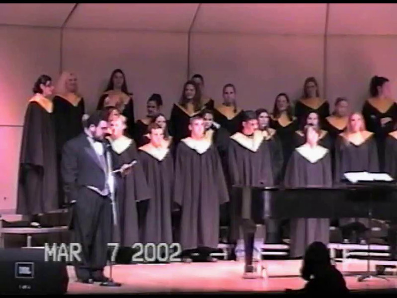 Video Archive Clip 2002 (March 7) - Yaden, Jacob B. - Age 17 - Jake participates in the Thompson Valley choir concert - Mark Kubicek, Director - Thompson Valley High School - Loveland, CO - Original VHS Series (11 min 12 sec)