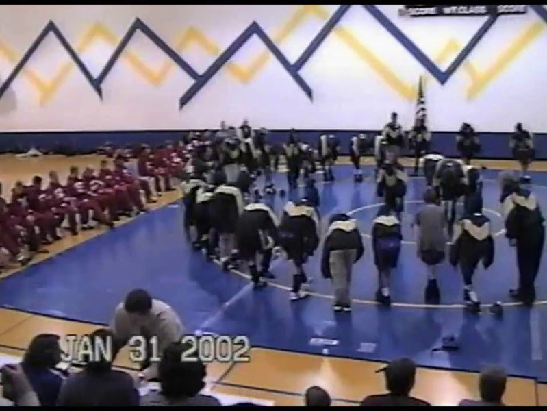 Video Archive Clip 2002 (Jan 31) - Yaden, Steven R. - Age 13 - Steve wrestles for the Walt Clark Cougars - Jan match - Walt Clark Middle School - Loveland, CO - Original VHS Series (8 min 32 sec)
