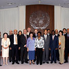 Deputy Secretary-General Asha-Rose Migiro (center right) and Executive Secretary Noeleen Heyzer (center left) pose for group photo with members of ESCAP's Senior Management Team during the DSG's visit to the United Nations Regional Headquarters in Bangkok. <br /> <br /> May 14-15, 2009<br /> Bangkok, Thailand