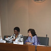 Deputy Secretary-General Asha-Rose Migiro (left) with Executive Secretary Noeleen Heyzer (right) speaking with UN staff in Thaland at the United Nations Conference center. <br /> <br /> May 14-15, 2009<br /> Bangkok, Thailand