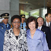 Deputy Secretary-General Asha-Rose Migiro (left front) with <br /> Executive Secretary Noeleen Heyzer (right front) in front of the  United Nations Conference Center in Bangkok. Also in the photo to the right of the Executive Secretary are Chairman of ESCAPs Staff Council Kris Tengpratip, Deputy Executive Secretary Shigeru Mochida and Secretary of the Commission, Richard Kalina.<br /> <br /> May 14-15, 2009<br /> Bangkok, Thailand
