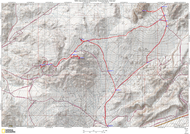 Track of our drive and hike to Turquoise Mtn, Tepoc Mine, Squaw Mtn