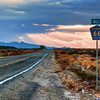 Route 66 in the Mojave Desert...<br /> Traveling west on Route 66 through the Mojave Desert has a magical desolate quality at sunset.