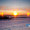 A colorful sundog shines over the agricultural fields on the Fairbanks campus.