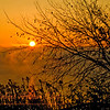Hikers view of an orange sunrise through mist and fog over Lake Mendota from Governor Nelson State Park Borchers Beach Road (USA WI Waunakee)