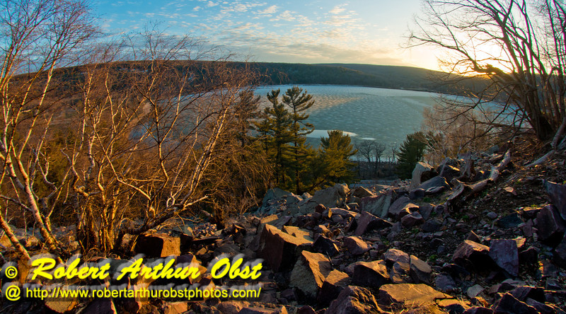 Happy hikers' view from Balanced Rock Trail of late day sun highlighting ice covered Devil's Lake and the radiant bluffs and foliage within Devils Lake State Park (USA WI Baraboo; Obst FAV Photos 2013 Nikon D800 Destinations Wild Scenic Image 8885)