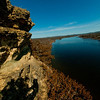Hiker's view during Spring upriver under gorgeous sapphire blue skies from near the top of Ferry Bluff along the Lower Wisconsin State Riverway (USA WI Sauk City)
