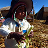 Day 12: Uros islands - Fabio demonstrating how to eat reeds.