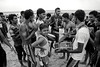 Youths at Negombo beach playing music and dancing on Christmas day.  Negombo, sri Lanka, 2014