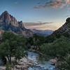 Looking south over the Virgin River and the Watchman (mountain feature on left) at sunset.