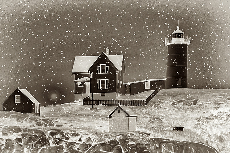 Nubble in Snow Posterized Inverted FF Sepia