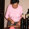Silvana breaks out one of the salami's from the cellar.