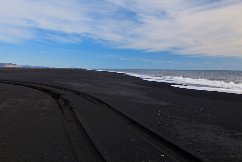 The black sand beaches of south Iceland stretch for miles.