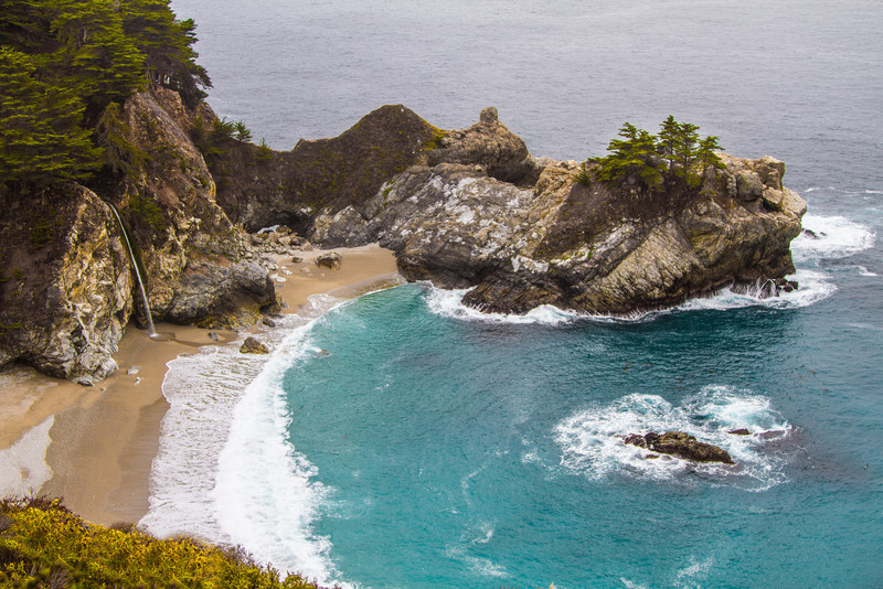 McWay Falls in Julia Pfeiffer Burns State Park. A beautiful little waterfall & cove in Big Sur.