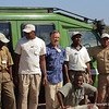 Our Nat. Geo. Exped. drivers and guides (John, Oscar, guide David Bygott, Adam, Philamon, guide Jombi Kivuyo kneeling), Grumeti Airstrip Tanzania 1/06/09