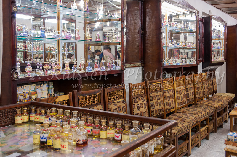 A shop selling glass vials of perfume at a Perfume shop in Aswan, Egypt.
