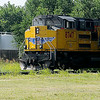 A Union Pacific locomotive pauses near E. Owen K. Garriott Saturday, July 5, 2014. (Staff Photo by BONNIE VCULEK)