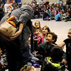 """Glenwood Elementary School students help Jack hide from the Giant during Tulsa Opera's """"Jack and the Beanstalk"""" Wednesday, Nov. 19, 2014. Pedro Willis-Barbosa portrays Jack during each of the performances. (Staff Photo by BONNIE VCULEK)"""