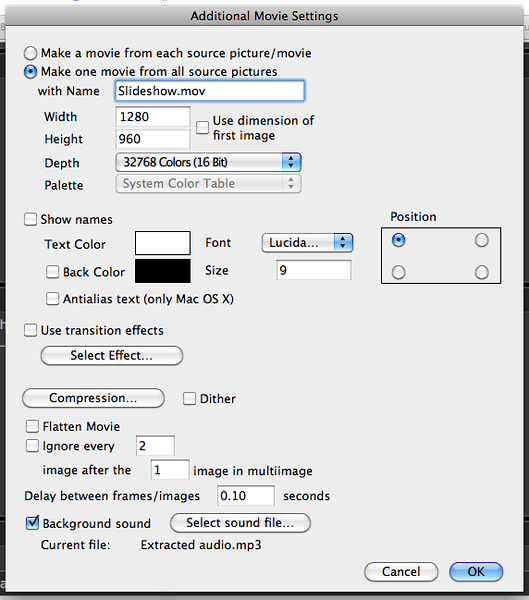 Movie settings for slideshow export.   This smashes a folder full of photos into a video with options to scale and add an audio file to the movie.  Flatten the video afterwards to encapsulate the audio track into the movie; otherwise the audio's just a reference to the MP3 in the video.