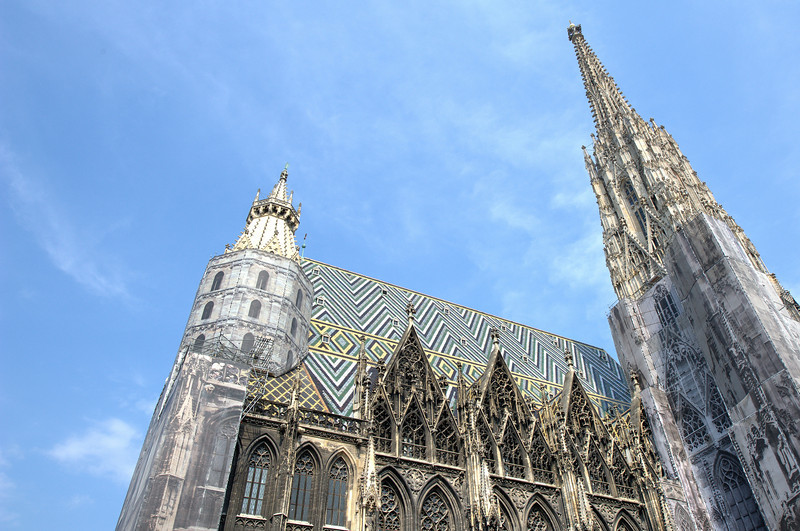 Looking up towers in St. Stephen's Cathedral in Vienna, Austria
