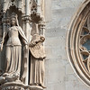 Statues outside St. Stephen's Cathedral in Vienna, Austria