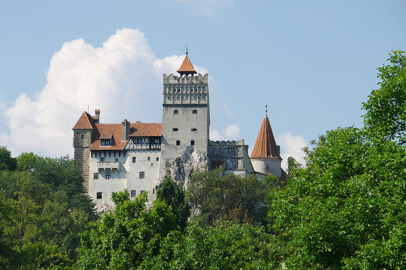 Bran Castle merited a couple of fun photos, but we decided to skip the hike up to see the interior...