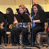"NJC jazz band members, from left; Lynnsey Lambrecht on baritone saxophone, Cynthia Stewart and Annette Lambrecht on tenor saxophone, and Celeste Delgado-Pelton and Kimberly Harford on alto saxophone, perform ""Splanky,"" during the NJC Winter Ensemble Concert, Saturday, Dec. 7, 2013."