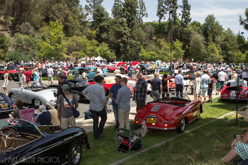 The scene on Sunday afternoon:  a wonderful array of rare cars on display at the Greystone Mansion Concours d'Elegance