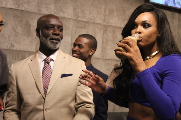 Peter Thomas and Demetria McKinney attends Peter's Brew launch party at Sweet Auburn Seafood and Lounge on November 20, 2014 in Atlanta, Georgia.